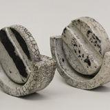 three piece raku fired stoneware, height 80mm