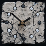 ceramic clock, black and white spots