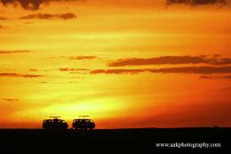 Safari bus sunset in the Masai Mara