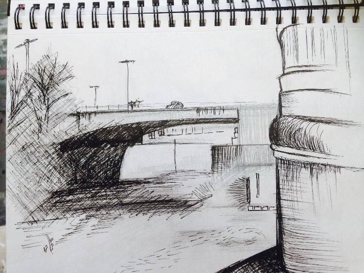 Outdoors river sketching