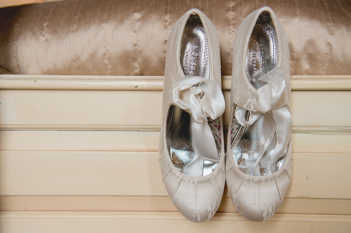 Wedding shoes at Gosfield Hall Essex