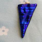 Dichroic Glass Pendant; Blue Sea Shard