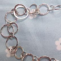 Sterling Silver; Fabulous, Hammered, Link Bracelet