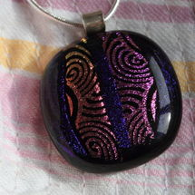 Dichroic Glass Pendant; Warm Pink Swirls