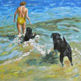 Swimming with my labradors