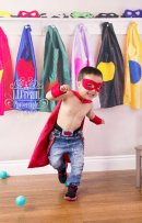 cute action shot on my superhero themed backdrop