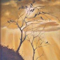 Doves at dusk