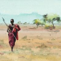 Maasai with spear