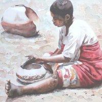 Woman making pot