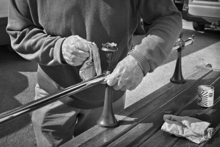 John Thompson cleaning the bier, September 2014