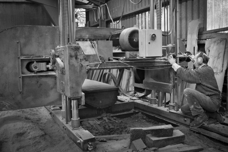John Wall (II), MJ Wall and Sons, Ampleforth sawmill, January 2014