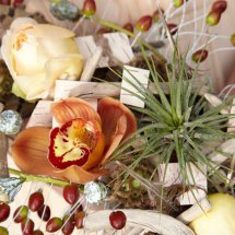 detail of bohemian bridal bouquet