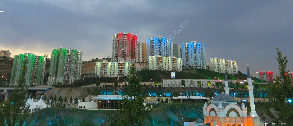 Ankara with water features and illuminated apartments