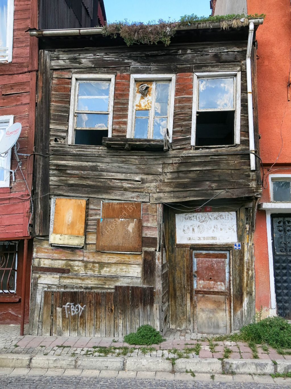 Old crooked wooden house Istanbul