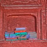 Books in alcoves Jama Masjid Mosque in New Delhi