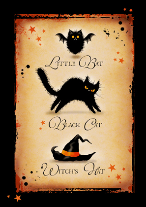 Little Bat. Black Cat. Witch's Hat.