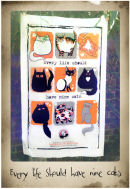 Nine cats tea towel