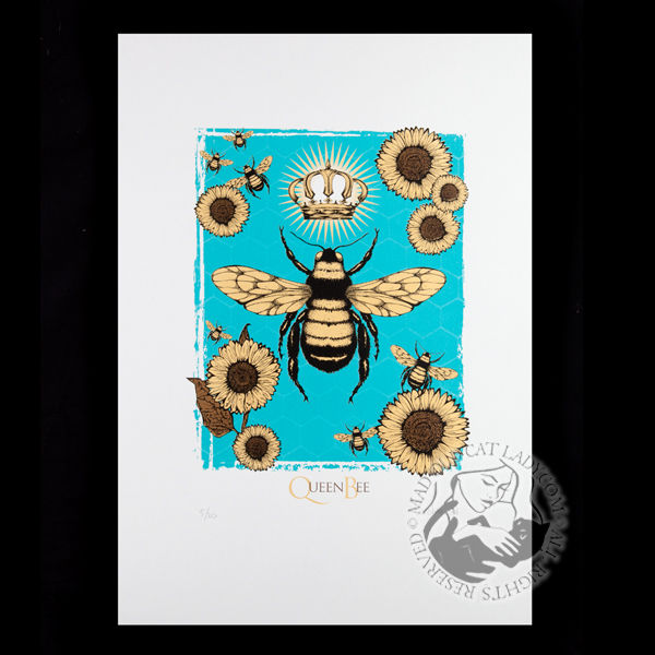 Queen Bee blue limited edition of 20 (290x380mm)