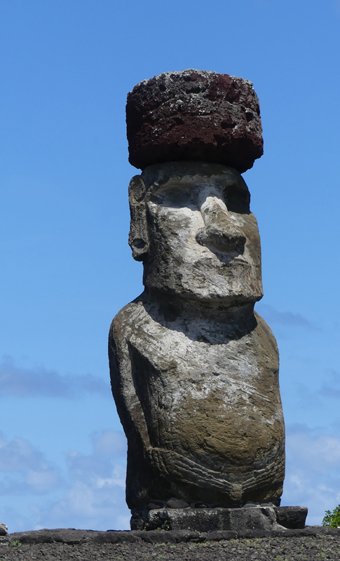 Only Moai at Tongariki with Topknot