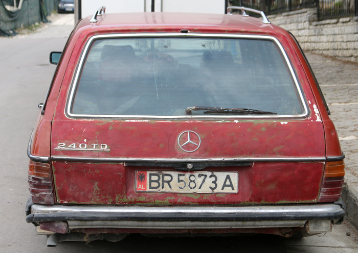 Typical Albanian wreck.  Every 3rd car is an old Merc like this
