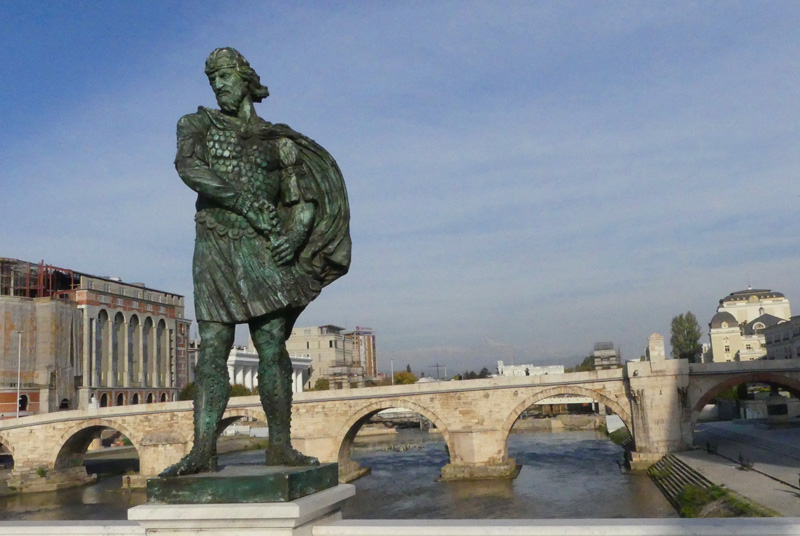 Macedonian hero & 14th Century old Stone Bridge, Skopje