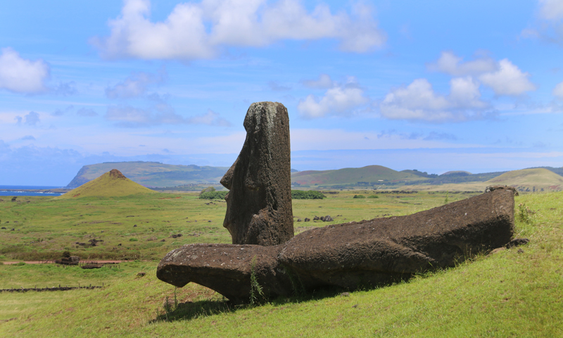 Moai fallen face down, abandonned
