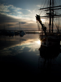 Square rigger in the morning, Hobart
