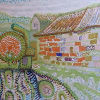 Muckspreader and barn