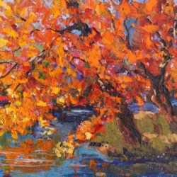 Autumn Blaze palette knife painting