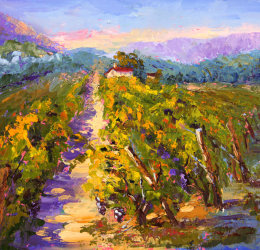 End of Summer Provence Vineyard oil painting