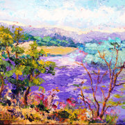 Lavender Blooming, Impressionist Provence Landscape