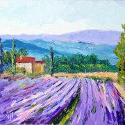 Lavender Farm, Impressionist Provencal Landscape