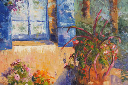 Patio Corner in Provence oil painting