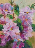 Pink Lavatera oil painting