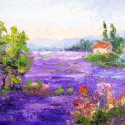 Purple Sea, Impressionist Provencal Landscape