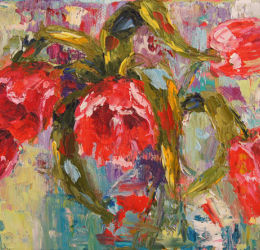 Red Tulips Palette knife painting oil painting