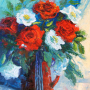 Red White and Blue, Red Rose Painting