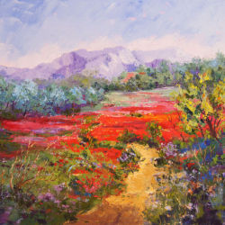Scarlet Poppies, Provence landscape oil painting