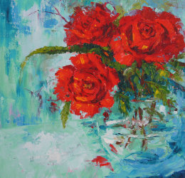 Valentine Roses, Red Roses Still Life Painting