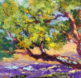 Coastal Pines palette knife painting
