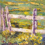 Daffodil Fenceline, Impressionist Provence Landscape