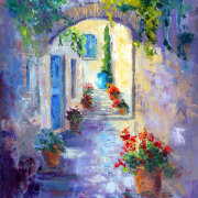 Hidden Passage, French Village Painting