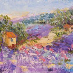 Pretty in Purple, Impressionist Provencal Landscape