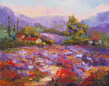 Poppy Takeover, abandoned lavender field  oil painting