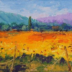 Sunshine in Provence No 2, oil palette knife painting