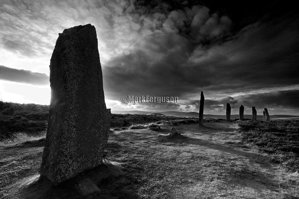 Ring of Brodgar in black and white