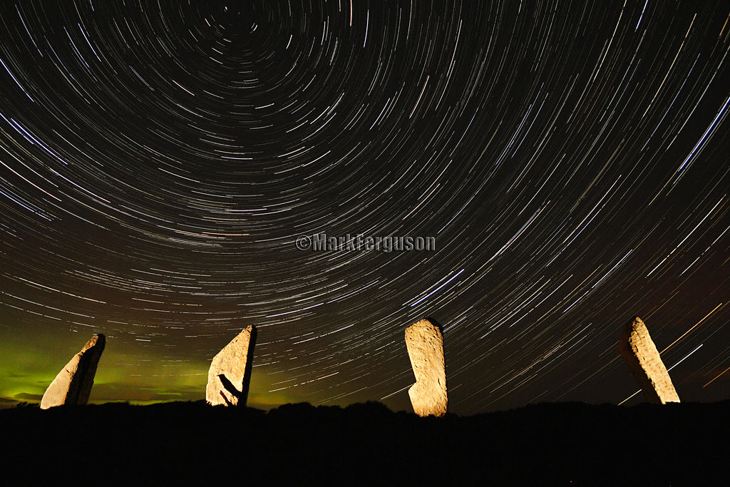 Ring of Brodgar with auroral glow 2012