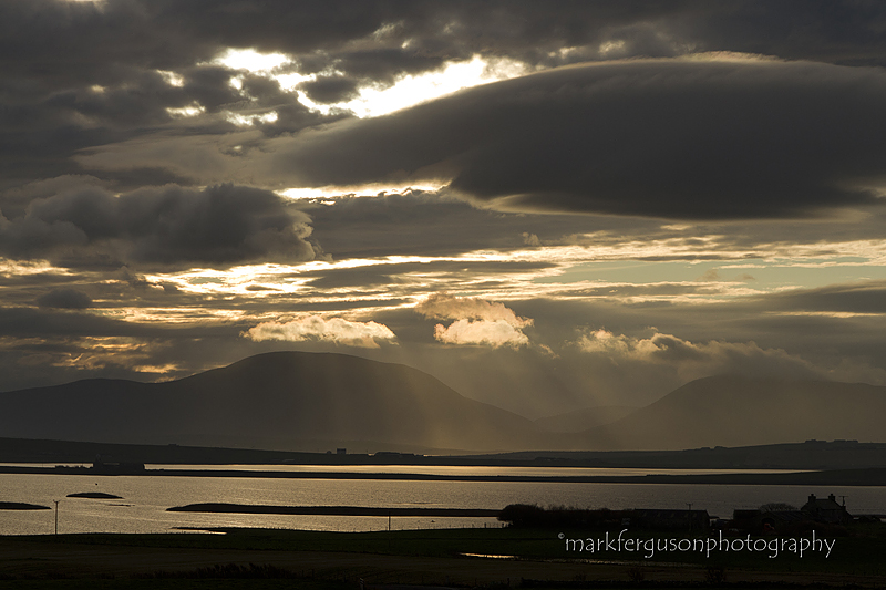 Crepuscular rays over Hoy