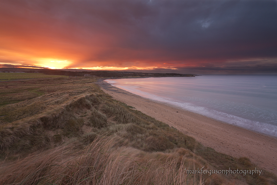 Winter sunset at Dunnet Beach