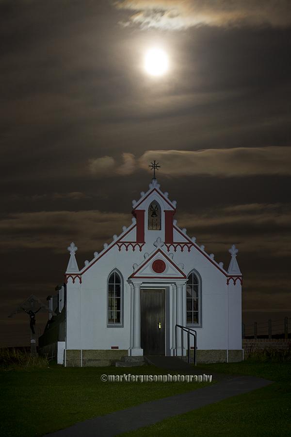 Italian Chapel under a full moon